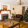 Christmas Tree in the interior with a fireplace — Stock Photo #24872507