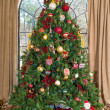 Christmas tree against the window — Stockfoto