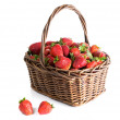 Basket with strawberry on a white background — Stock Photo