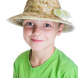 Portrait of a Boy Scout in a hat with a butterfly on her moon - Stock Photo