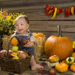 Stock Photo: Cheerful kid with pumpkin and apple
