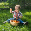 Little boy shows tomatoes from basket — Stock Photo