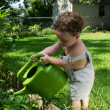 The child and his green watering can — Stock Photo