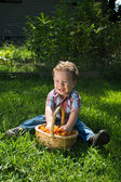 Happy small child with a basket of tomatoes — Stock Photo