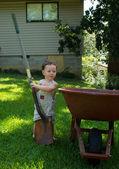 The child in garden — Stok fotoğraf