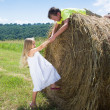 Friends near hay roll — Stock Photo