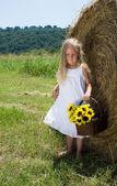 Dziewczyna w pobliżu rolki siana — Zdjęcie stockowe