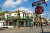 Cafes and shops in Faubourg Marigny quarter, New Orleans — Stock Photo