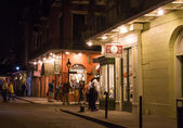 Street with shops, and cafes in the french quarter of New Orleans — Stock Photo
