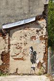 Girl and rat, graffiti of Banksy — Stock Photo
