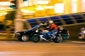 Motorcyclist at night — Stock Photo