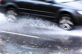 Driving in flood water — Stock Photo