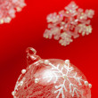 Bauble and snowflakes — Stock Photo