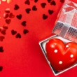 Red heart in silver box — Stock Photo