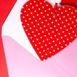 Red heart with pink envelope — Stock Photo