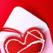 Red heart over envelope — Foto Stock