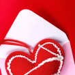 Red heart over envelope — Stock Photo