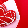 Red fabric heart — Stock Photo