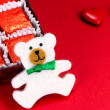 Teddy bear and candy — Stock Photo