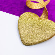 Valentine greeting card with golden heart — Stok fotoğraf
