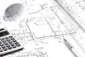 Architecture drawing and instruments — Stock Photo