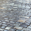 Stock Photo: Wet cobblestone road closeup