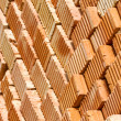 Stack of red clay bricks — Stock Photo