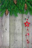 Adornos navideños en madera — Foto de Stock
