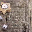 Stock Photo: Silver Christmas present and candle