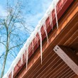 Stock Photo: Icicles on the eaves
