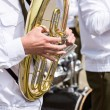 Tuba player in military band — Stock Photo