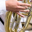 Tuba in military orchestra — Stock Photo