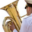 Tuba player in military orchestra — Stock Photo #40475703