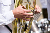 Man playing a tuba — Stock Photo