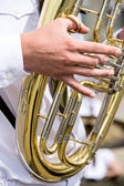 Tuba in military orchestra — 图库照片
