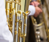 Golden tuba mechanism — Stock Photo