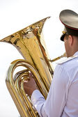 Tuba player in military orchestra — Stock Photo
