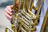 Golden tuba detail — Stock Photo