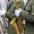 Military musicians with saxophones — Stock Photo #40553185