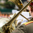 Trombone player in military band — Stock Photo