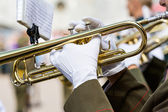 Marching band trumpets — Stock Photo