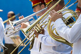 Brass band musicians with trumpets — Stock Photo