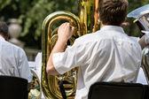 Musician playing tuba — Stock Photo