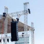 Powerful stage concert audio speakers — Stock Photo