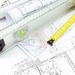 Architectural plans and measurement tools — Stock Photo