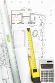 Architectural drawing detail and several measurement tools — Stock Photo