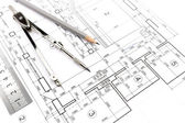 Home plans and compass — Foto Stock
