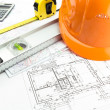 Architectural blueprints and work tool — Stock Photo #43592885