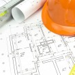 Architectural drawings and tools — Stock Photo