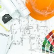 Architectural background with work tools — Stock Photo